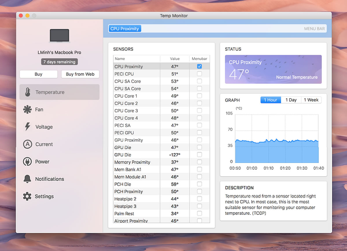 how to check mac temperature