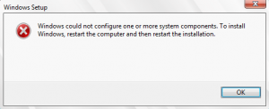Windows could not configure one or more system components