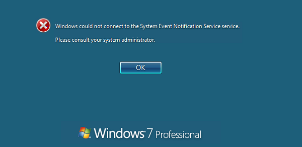 Windows could not connect to the system event notification service