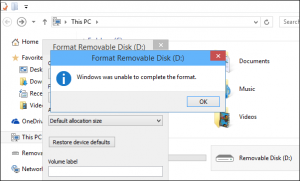Windows were Unable to Complete the Format