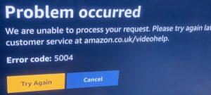 Amazon Error Code 5004 - Amazon Prime Video Error Code 5004